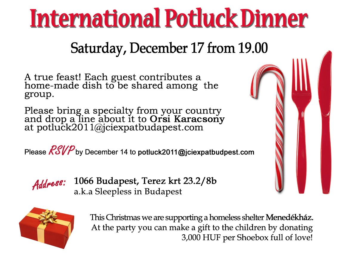 Charity Potluck Dinner & Party in Benefit of Homeless ...